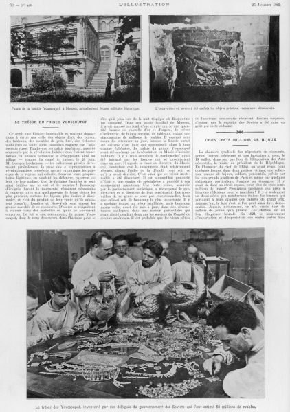 An article relating to the Palace of the Youssoupof which housed a military history museum (top left), revealing how the excavations unearthed precious objects (top right) and showing the delegates of the Soviet government carrying out an inventory