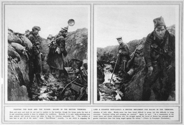 German (left photograph) and British troops (right photograph) struggling to cope with the appalling trench conditions; the British bale water using a giant ladle