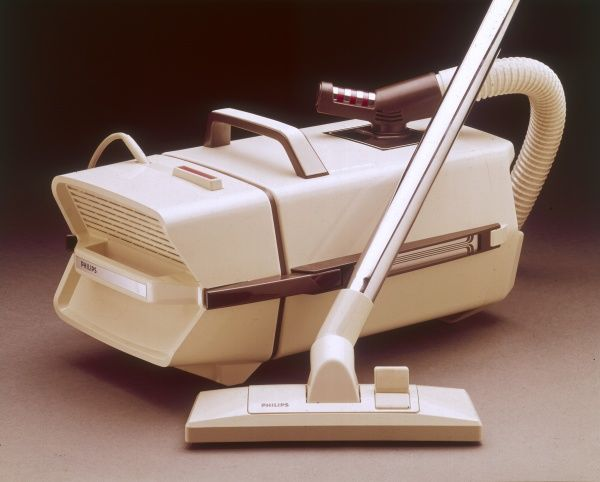 A Phillips vacuum cleaner in a trendy cream and brown design. Date: 1974