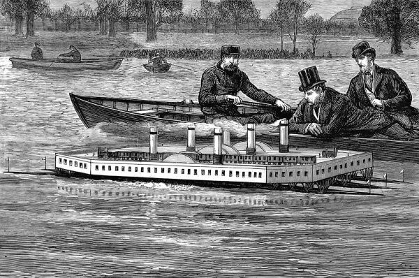 Engraving of a trial of a Steam Channel Ferry design on the Serpentine, Hyde Park, from The Graphic, 26th February 1876