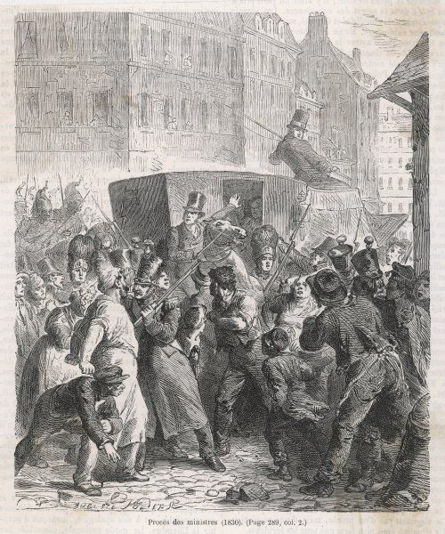 Polignac and other ministers of Charles X are vilified by the Paris mob as they go to trial in the Chambre des Pairs, where they will be sentenced to imprisonment