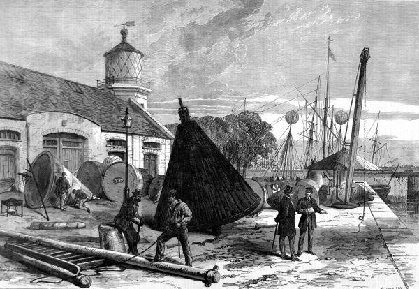 Trinity Buoy Wharf, Blackwall showing buoys and dock workers