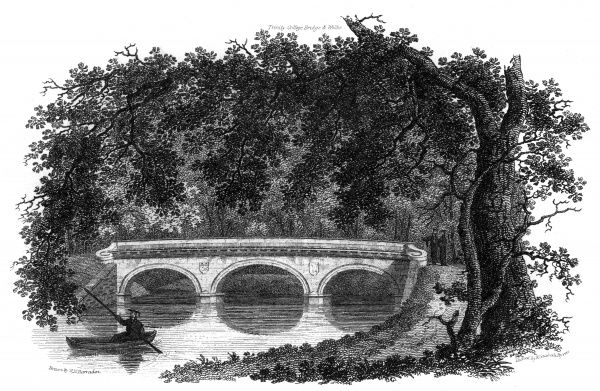 University Entertainment: A college man in mortar board & gown has just passed under the bridge, built by James Essex in 1764-5, in a punt. Date: 1819