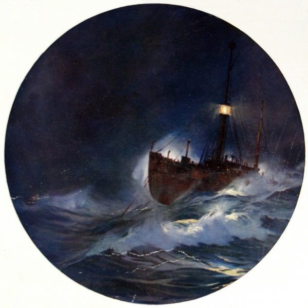 Illustration of a lightship on a stormy night, from 'The Sphere', 24th November 1913