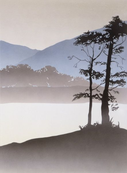 A Triptych landscape of a waterfall leading into a mountain lake surrounded by little copices of trees in stark silhouette. Painting by Malcolm Greensmith