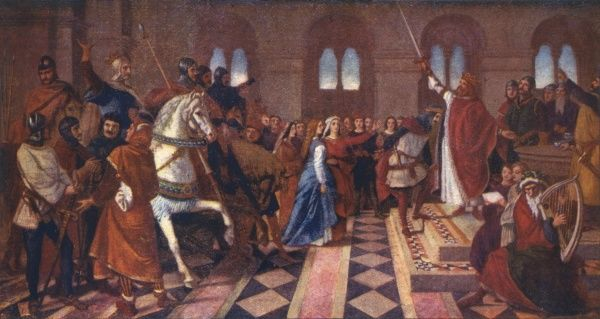 Sir Tristram at the court of King Arthur