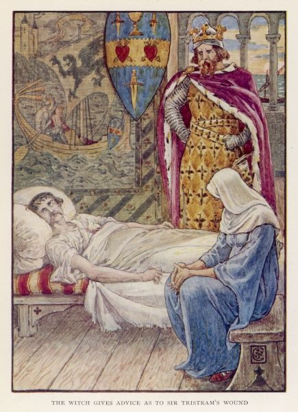 A witch advises King Mark of Cornwall about the wound Sir Tristram received from Sir Marhaus's lance