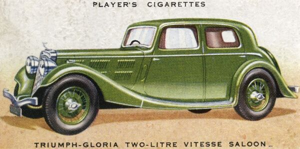 This is the Triumph-Gloria two-litre 'Vitesse' saloon. Date: 1936