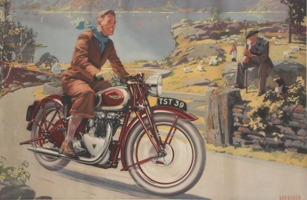 A colour illustration, depicting a man riding his Triumph motorcycle through the Scottish Highlands on a bright, sunny day
