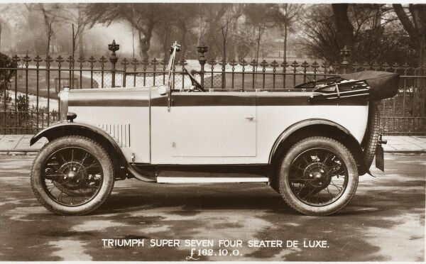 Delightful photographic promotional card for a Triumph Super Seven Four Seater De Luxe - 'The World's Finest Small Car&#39