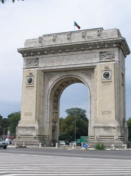 View of the triumphal arch in Bucharest, Romania. It was inaugurated in September 1936, and is dedicated to the heroes of the War of Independence, and of the two World Wars