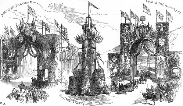 Engraving showing three triumphal arches erected in Chatham, Kent, for the visit of the Prince and Princess of Wales in 1875. The Princess visited Chatham dockyard, with her husband, to launch HMS 'Alexandra' in April that year