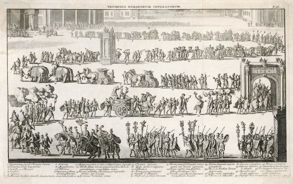 A generic Roman triumphal procession which includes the Emperor in a chariot, elephants, conquered captives, musicians, soldiers, captured arms & burners of incense