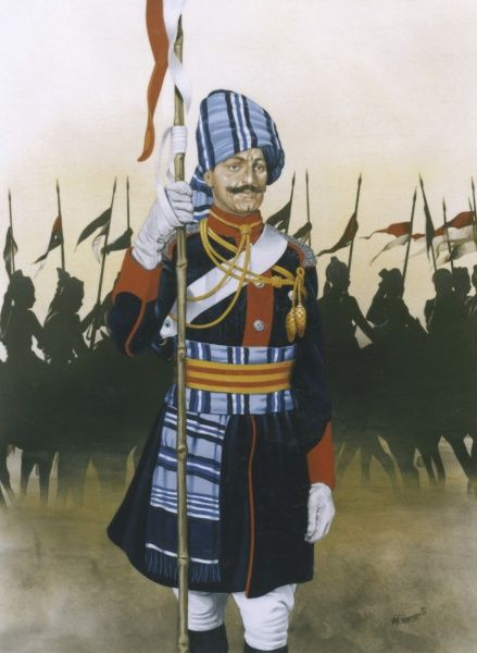 A Trooper of the 61st Cavalry of the Indian Army - a modern descendant of the old British Indian Army (last of the horseback soldiers). Painting by Malcolm Greensmith