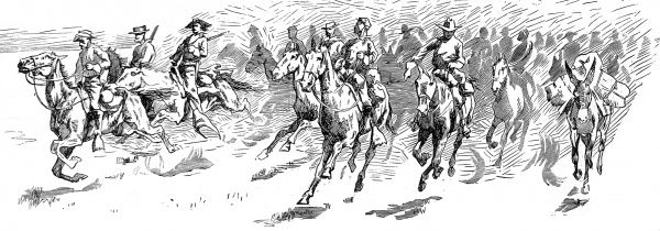 Illustration showing US troopers in hot pursuit of Apache Indians in Southern Arizona and Northern Sonora, New Mexico during one of the last wars between native American Indians and the Federal Army, c.1887