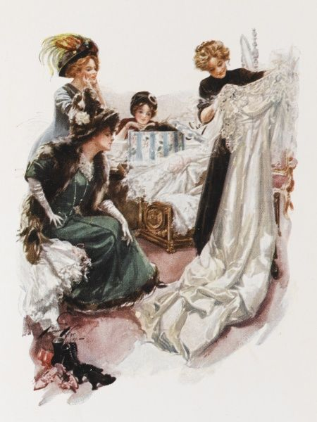 The Trousseau: A happy blonde bride to be shows off her wedding dress to some female friends before the big day. A jealous lady in green views it critically