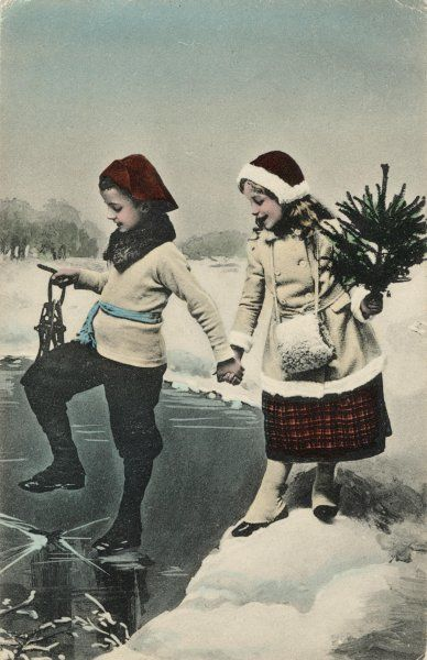 Two Norwegian children prudently try the thickness of the ice on a pond before venturing to skate on it - and just as well, for it cracks ! Date: 1909