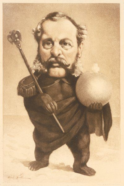 TSAR ALEXANDER II depicted with the Russian bear's feet