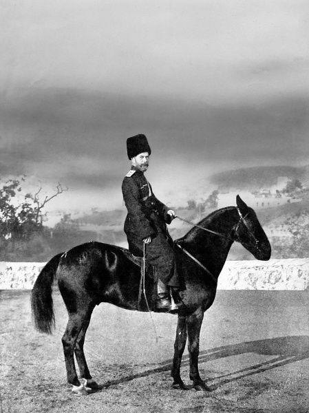 Tsar Nicholas II of Russia dressed in the uniform of the Cossacks, mounted on a horse