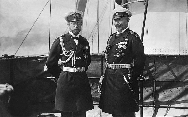 Tsar Nicholas II and Kaiser Wilhelm II on board the German imperial yacht, Hohenzollern, on 4 June 1909