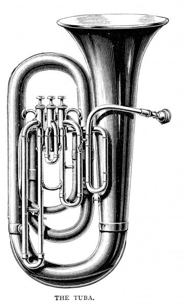 There are three sizes of tuba - the smallest is the Euphonium : the Bombardon is the most usual ; there is also the Contrabass Tuba, used in military bands and by Wagner. Date: 1897