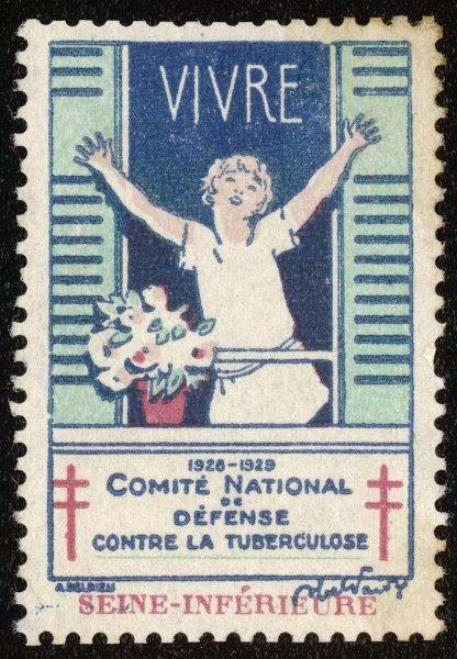 French postage stamp promoting fresh air and sunshine to fight tuberculosis