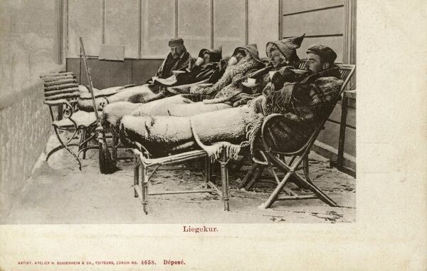 Tuberculosis Sufferers getting a real blast of cold fresh air at Davos, Switzerland. Date: circa 1906