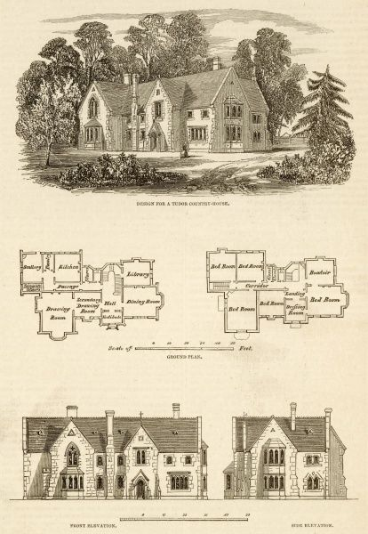 A design for a small Tudor country house with ground plan and elevation