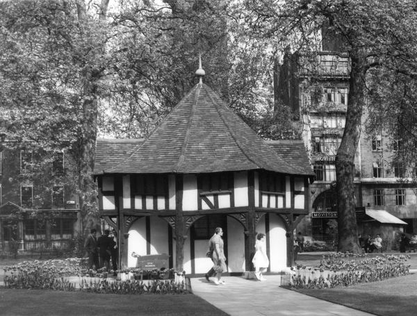 This Tudor summerhouse, in Soho Square, London, disguises a ventilation shaft from the underground railway 'tube' station! London, England. Date: 16th century
