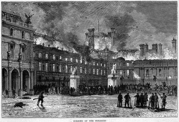 Twelve Communards, led by Dardelle, set the Tuileries on fire with a mixture of petrol, liquid tar and turpentine : it will burn for two days and be utterly destroyed