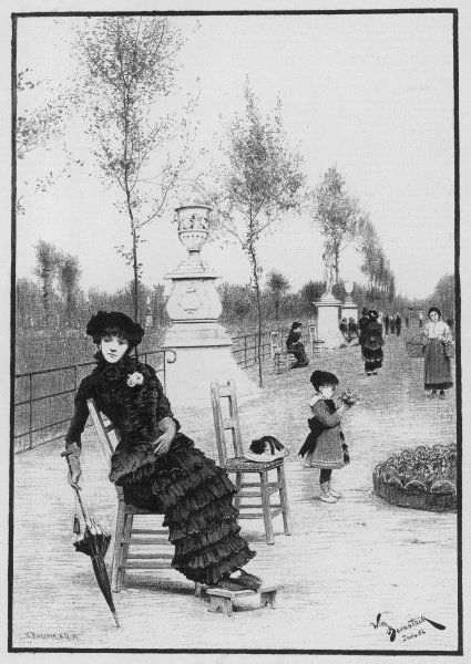 Mother and child in the Tuileries Gardens, Paris