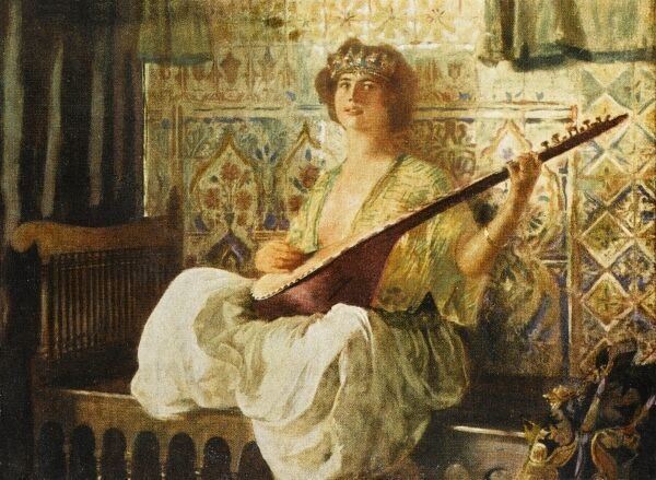 Oriental Fantasy Painting by Ferdinand-Max Bredt depicting a Turkish woman in the Harem playing a long-necked lute, sat crossed-legged on a bench