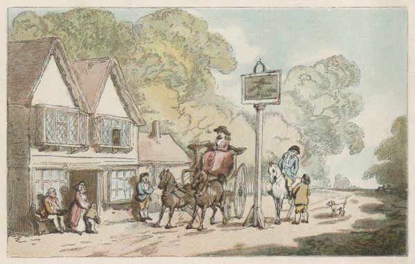 A lady in her carriage and a gentleman on his horse at 'Tumble Down Dick' post-house at Alton, Hampshire