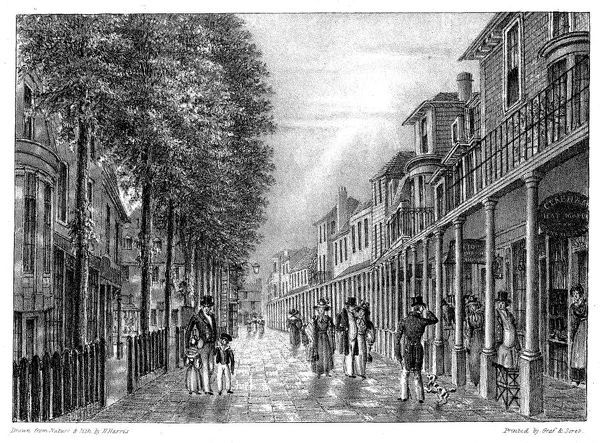 The Pantiles - known at this time as 'The Parade' - at Tunbridge Wells, a popular spa where visitors came to drink the waters