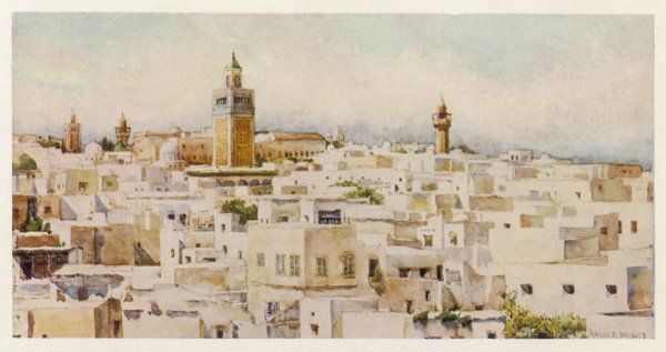 Minarets soar over the rooftops of the city