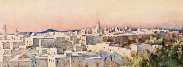 Kairouan: view of the city at twilight