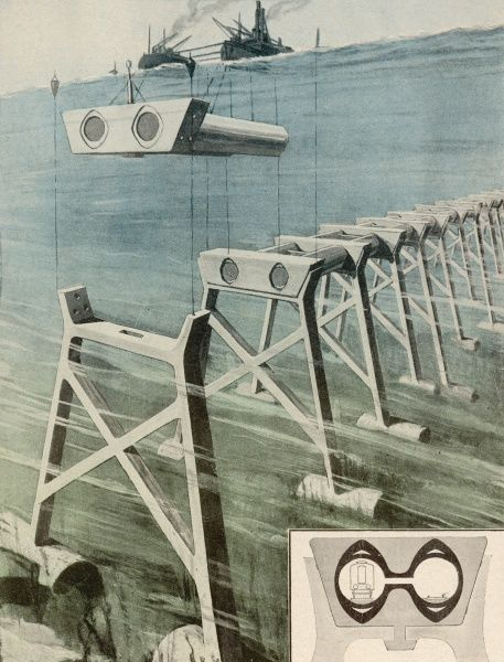 Veyrrier, a French engineer, proposes an elevated tunnel resting on the sea-bed, with sections lowered from the surface