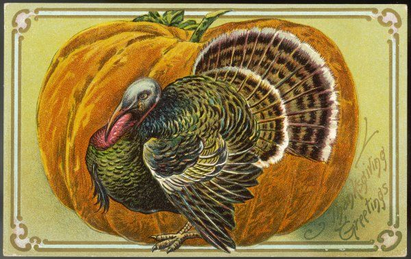 A turkey and a pumpkin represent Thanksgiving (Fourth Thursday in November)