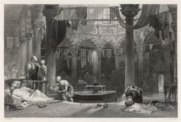 The outer cooling room of a Turkish bath in Constantinople