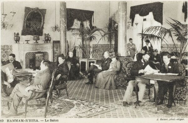 The salon of a Turkish Bath - Algiers, Algeria. The clientele appears to be mostly French