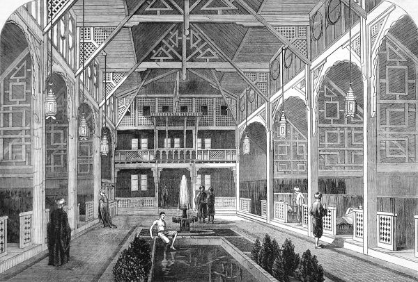 Engraving showing the 'Meshlakh', or cooling room, of the Turkish Baths in Jermyn Street, London, 1862