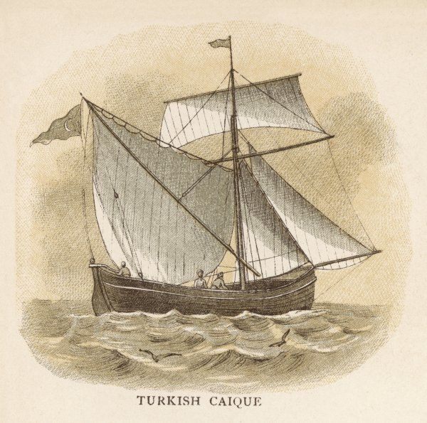 Turkish caique, carrying an assortment of sails on its single mast