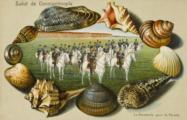 Turkish Cavalry - Constantinople - on Parade, surrounded by a border of seashells