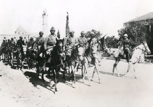 Turkish cavalry in the Middle East, riding out of Beersheba (Bir As-Saba) for the Front during the First World War. Date: April 1917