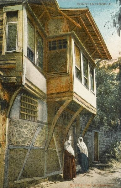 Traditional Turkish wooden house. The upper rooms overhanging the street are called Cumbas, designed in order to catch any breath of air in the heat of the summer and by tradition there was always a cushion for a cat and even today many people