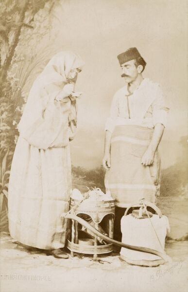 Constantinople - An ice cream seller with a female client