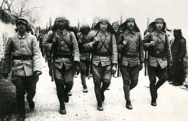 Turkish infantry on the march during the First World War. Date: 1917