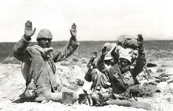 Turkish prisoners captured during action in Tuz Khurmati on the Tigris (now in Iraq) during the First World War. They were captured by the 38th Lancashire Brigade, 13th Division