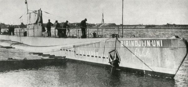 The Turkish submarine Birinci Inonu (initially named Birindji-In-Uni). Built in the Netherlands, left Rotterdam under the Turkish flag, and arrived Istanbul, Turkey, on 9 June 1928. Date: circa 1928