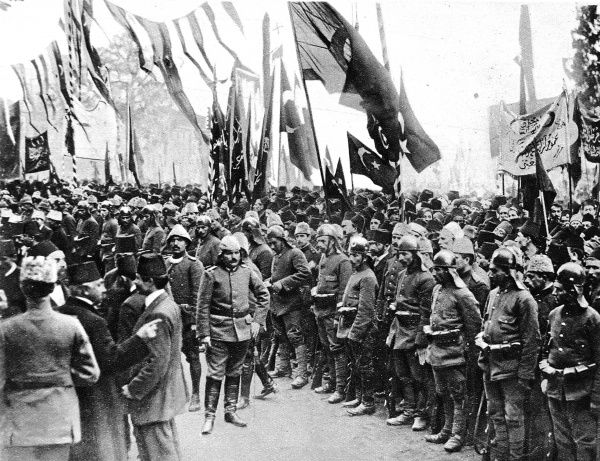 Turkish troops listening to the Sheikh-Ul-Islam's proclamation in Constantinople